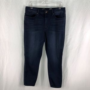 Seven7 14 High Rise Ankle Skinny Jeans Dark Blue